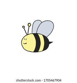 Cute bee in cartoon style isolated on white background.Logo symbol vector illustration isolated on white background. Bee Print for t shirt, cup, textile,print,wallpaper,web page,disign card and more.
