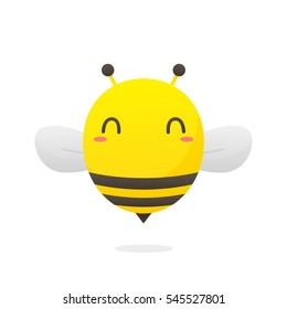 Cute bee cartoon vector isolated