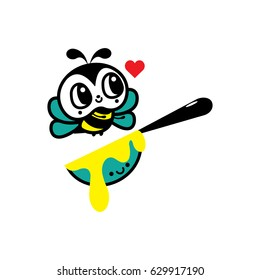 Cute bee cartoon vector isolated on a white background