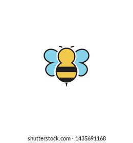 cute bee flying cartoon icon vector on a white background