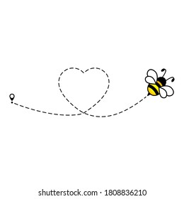 Cute bee flying icon. Heart dotted lines path with start point and dash line trace isolated on white background.