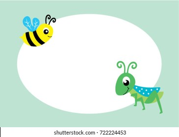 cute bee and grasshopper message vector
