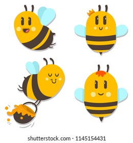 Cute bee with honey vector cartoon character set isolated on white background.