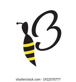 cute bee logo side view vector design