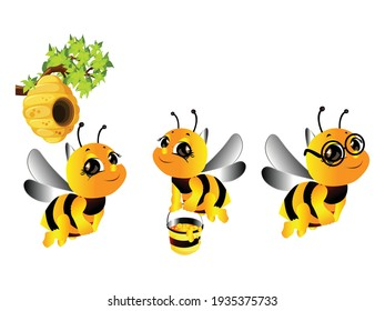 Cute Bee Mascot Set Vector illustration. Bee Cartoon Flying symbol. Honey bee Pot sign, emblem isolated on white background, Flat style for graphic and web design, logo.
