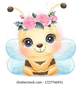 Cute bee portrait with watercolor effect