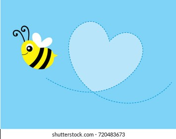 cute bee valentine message card vector. cute bee message card vector.