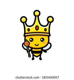 cute bee wearing king crown