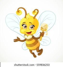 Cute bee with wooden dipper flying on a white background