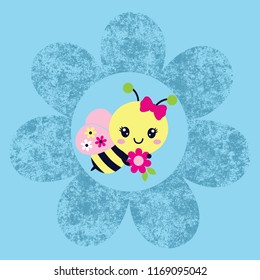 cute bees with a flower background