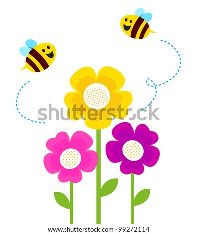 Cute bees flying around spring flowers stock vector royalty free cute bees flying around spring flowers isolated on white mightylinksfo