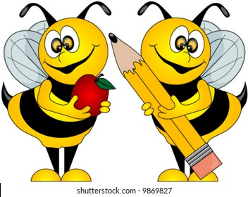 Cute Bees holding an Apple for the Teacher and a Pencil, Vector
