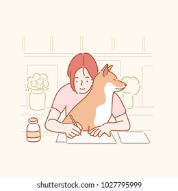 Cute behavior of pet dogs that prevents you from working at your desk. hand drawn style vector doodle design illustrations.