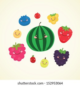 Cute berry: blueberry, cranberry, cloud-berry, strawberry, blackBerry, currant, cow-berry, watermelon, raspberry