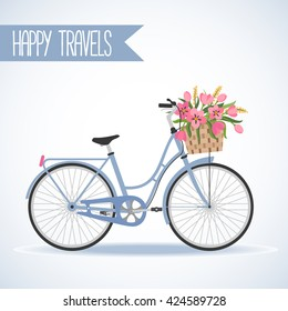 Cute bicycle with basket full of flowers in modern flat style. Travel bicycle. Greeting card. Vector illustration