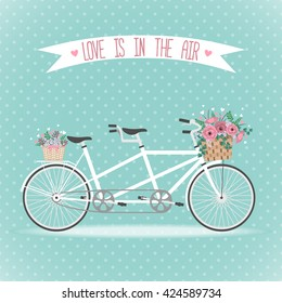 Cute bicycle with basket full of flowers in modern flat style. Wedding bicycle. Greeting card. Vector illustration