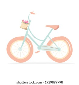 Cute bike with a basket of flowers. Vector flat illustration