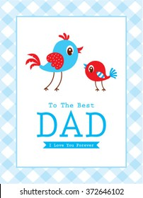 cute bird to the best dad happy father's day card
