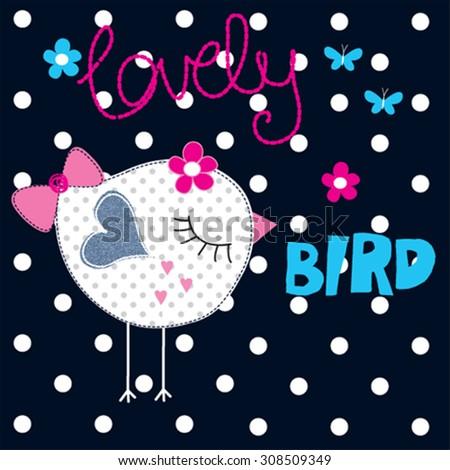 0f5247e8a Cute Bird Butterfly Tshirt Design Vector Stock Vector (Royalty Free ...
