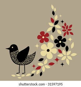 cute bird card design