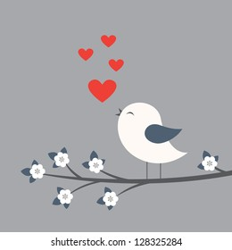 Cute bird. Card for Valentine day