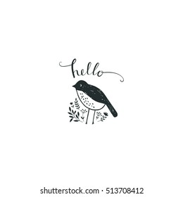 Cute bird in a doodle style.