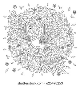 Cute bird in fantasy flower garden. Animals. Hand drawn doodle. Ethnic patterned illustration. African, indian, totem tatoo design. Sketch for avatar, tattoo, poster, print or t-shirt.