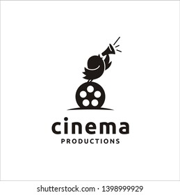 Cute Bird with Film Equipments. Good logo design for Movie Maker