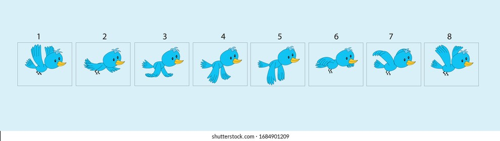 Cute bird flying animation. Bird Animations. Set of Sprite bird flies.vector