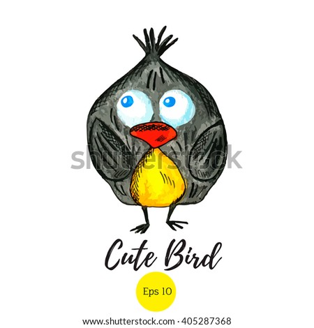 9285b7931 Cute bird. Funny bird. Can be used for prints on t-shirts, design cards and  on your other designs. - Vector