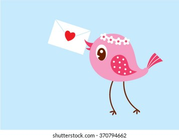 cute bird with love letter envelope