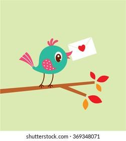 cute bird love letter vector illustration