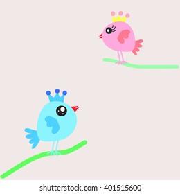 cute bird    male and female