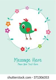 cute bird message card vector illustration