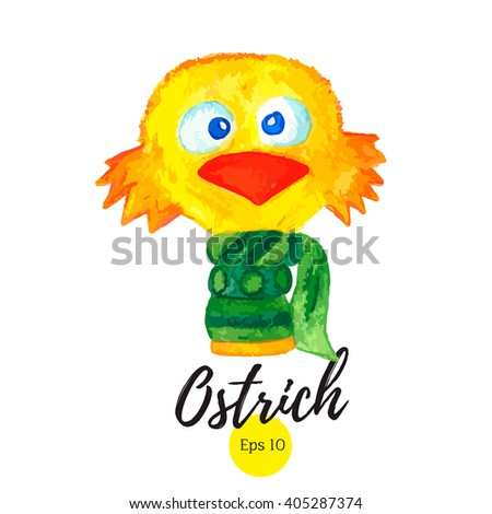 e6a7e0564 Cute bird. Ostrich vector. Funny bird. Can be used for prints on t-shirts,  design cards and on your other designs. - Vector