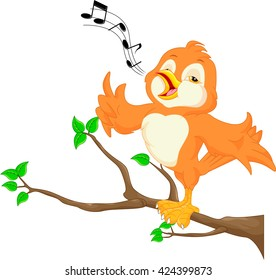 Cute bird singing