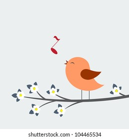 Cute bird sings. Spring vector card