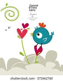 A Cute Bird tweeting and a red heart flower