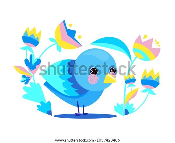 Cute Bird Vector Illustration, Decor element