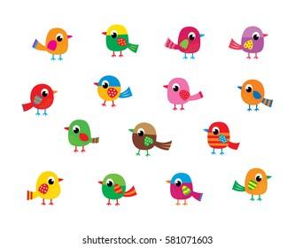 cute bird vector set