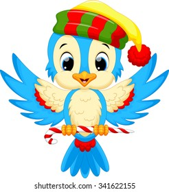 cute bird wearing a Santa hat while carrying candy