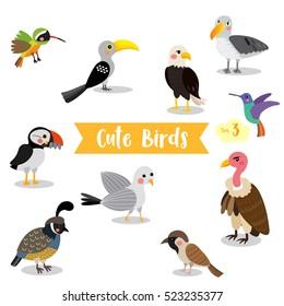 Cute Birds Animal cartoon on white background. Set 3.