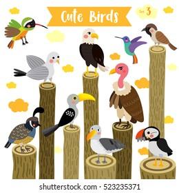 Cute Birds Animal cartoon perching on logs and flying. Set 3.