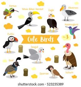 Cute Birds cartoon on white background with animal name. Set 3.