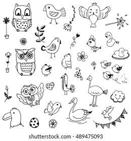 cute birds and flower doodle drawing vector set