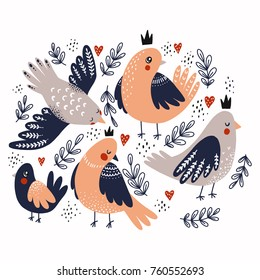 Cute birds illustrations. Hearts and branches