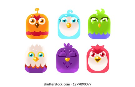 Cute birds, lovely colorful glossy birdies collection vector Illustration