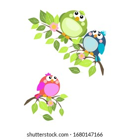 Cute birds on spring twigs with green leaves and flowers.Vector illustration on a white background