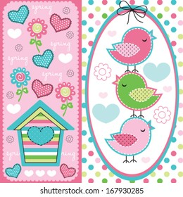 cute birds with spring pattern vector illustration