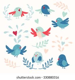 Cute birds vector card set